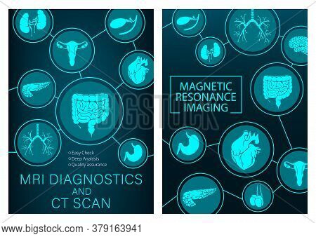 Mri Research Of Organs Medicine. Vector Magnetic Resonance Imaging Medical Diagnostic. Healthcare Cl