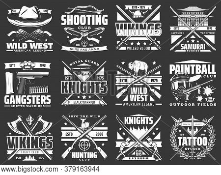 Weapon Heraldic Icons With Vector Hunting Rifles, Guns And Knives, Medieval Knight Swords, Crossbows