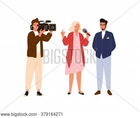 Woman Reporter And Cameraman Interviewing Celebrity Man On Air. Journalist People Make News Program