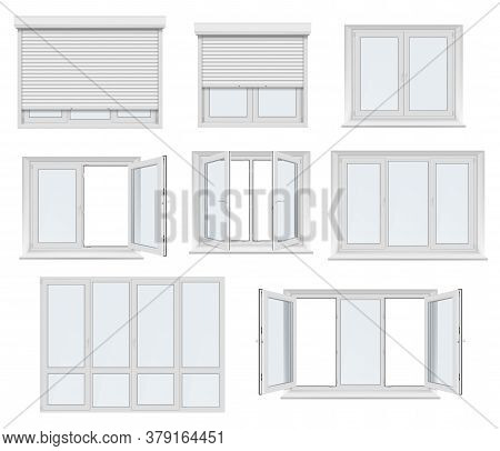 Plastic Window And Door With Roller Shutter Isolated Vector Mockup. Realistic White Windows And Door