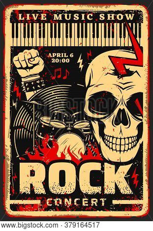 Rock Music Festival Concert Vector Poster With Musical Instruments, Skull And Notes. Drum Set, Vinyl