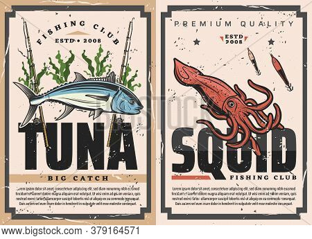 Fish And Seafood Fishing Sport Vector Design With Tuna, Squid, Fisherman Tackles. Fishing Rod, Lure