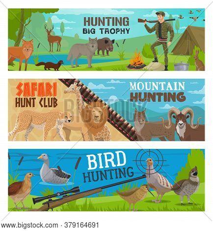 Hunting Sport Vector Banners Of Hunter, Gun, Animal And Bird. Hunt Equipment, Huntsman Rifle Target