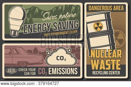 Save Energy, Air Pollution And Waste Recycle, Vector Ecology, Environment And Nature Protection. Ene