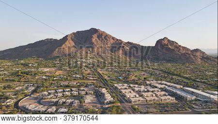 Camelback Mountain, located in Phoenix and near Scottsdale,Arizona,USA