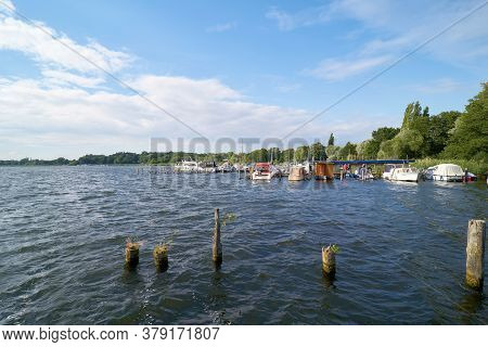Toeplitz, Germany - July 24, 2020: The River Havel In The Havelland Near Toeplitz With Boat Landing