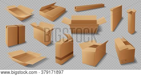 Cardboard Boxes, Realistic Vector Mockup Of Delivery Packages. Isolated Brown Carton Or Paper Cargo