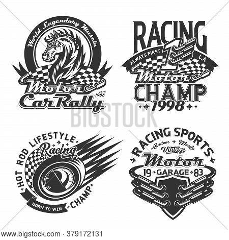 Racing Sport And Car Rally T-shirt Print Mockup, Vector Motorsport Championship Custom Apparel. Star