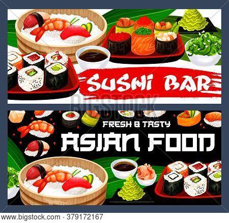 Japanese Sushi Vector Banners Of Asian Cuisine Food With Rolls, Nigiri, Hosomaki And Uramaki. Seafoo