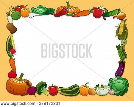 Vegetables Vector Frame With Farm And Garden Fresh Food. Pepper, Carrot, Tomato And Garlic, Radish,