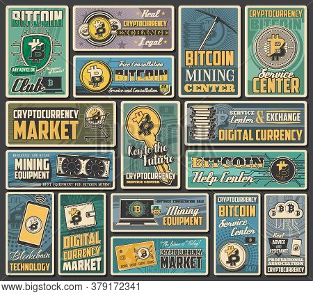 Bitcoin Cryptocurrency Retro Banners Of Vector Digital Money Exchange, Blockchain Transaction And Cr