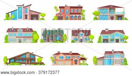 Real Estate House Vector Icons With Isolated Buildings Of Residential Homes. Cottage, Villa, Bungalo