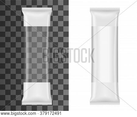Plastic Package For Italian Pasta, Spaghetti Or Cookies Realistic Vector Mockup Of Food Packaging. I