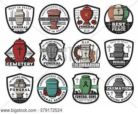 Cremation Urn Isolated Vector Badges Of Funeral Service. Columbarium Vases, Jars And Pots For Ashes