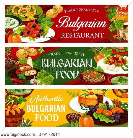 Bulgarian Cuisine Food Dishes, Vector Banners With Vegetable, Meat And Desserts. Bryndza Cheese With
