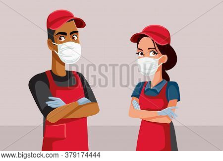 Supermarket Employees Wearing Personal Protective Equipment Vector Illustration