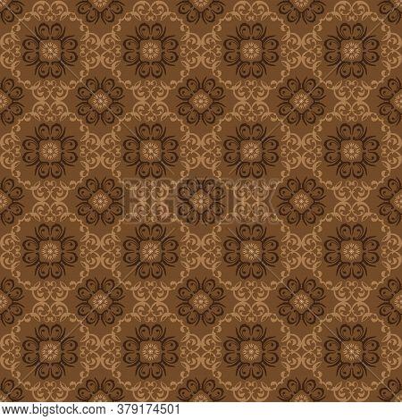 Simple Flower Motifs On Central Java Batik Design With Soft Brown Color Design.
