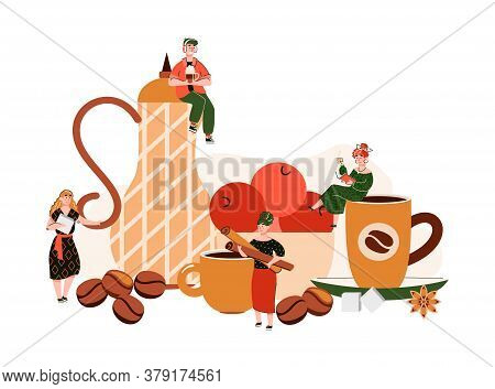 Coffee Shop Composition With Tiny People Holding Cups And For Hot Drinks. Cozy Cafe Table Concept Wi