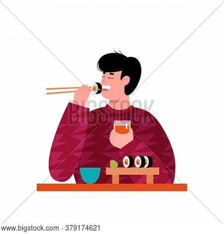 Young Man Or Guy Cartoon Character Enjoying Sushi, Flat Vector Illustration Isolated On White Backgr