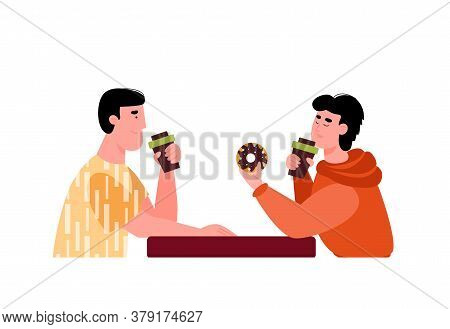 Meeting Friends In A Cafe With Food. Guys Eat Donuts And Drink Drinks. Young Men Sit At A Table And