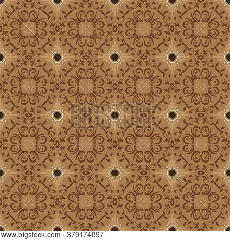 Simple Flower Pattern On Bantul Batik With Mocca Color Design.