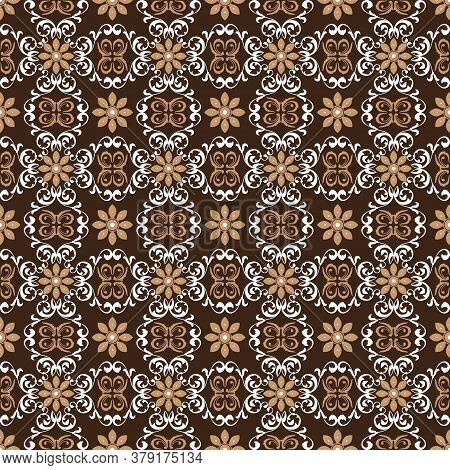 Elegant Indonesian Batik Pattern With Dark Brown Color Design.