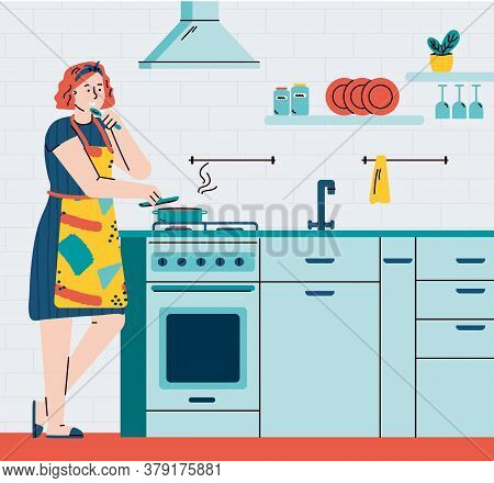 Busy Housewife Woman Cartoon Character Cooking In Home Kitchen Interior, Flat Vector Illustration. H