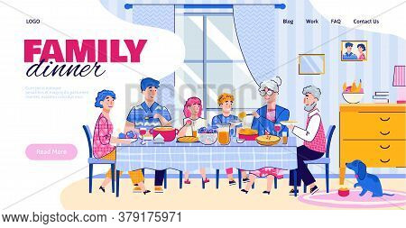 Website Banner With Family Having A Dinner Together At Big Table, Cartoon Vector Illustration On Whi