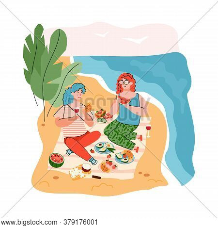 Two Women On Beach Picnic By The Sea. Cartoon Girls Sitting On Picnic Blanket With Fresh Food And Dr
