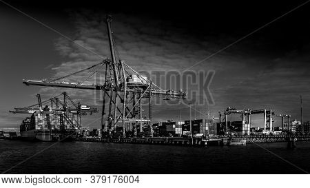 Vancouver, British Columbia/canada - July 11, 2019: Black And White Photo Of Container Port With The