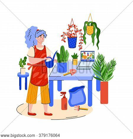 People Home Activity And Hobby Concept With Woman Character Takes Care Of House Plants, Cartoon Flat