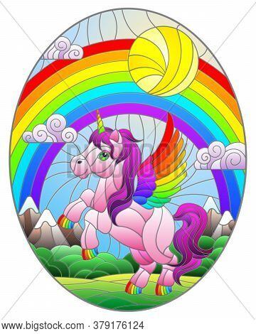 Illustration In Stained Glass Style With Pink Cartoon Unicorn On  Background Of Mountains, Rainbow,