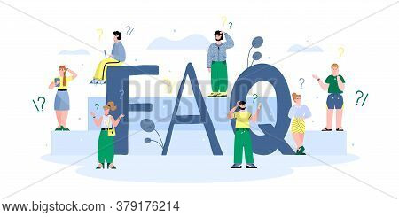 Faq Banner Concept Of Questionnaire And Giving Information For Users Of Website And Customers With C