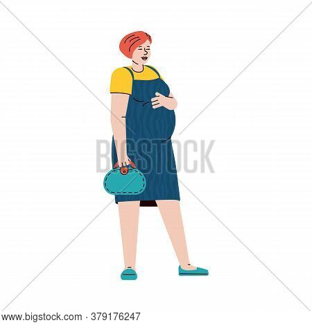 Cartoon Character Of Pregnant Young Woman Standing With Handbag, Flat Vector Illustration Isolated O