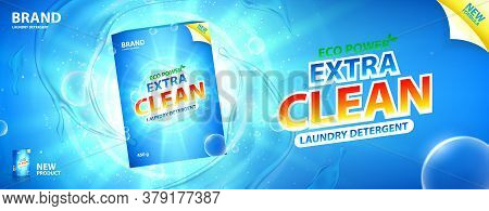 Laundry Detergent Promo Banner. Vector Illustration With Realistic Box Of Laundry Detergent With Bri