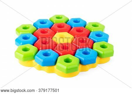 Kids Toys Background With Teddy Bear And Colorful Blocks