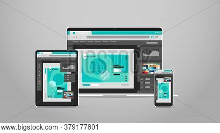 Laptop Tablet And Smartphone Screns Cross Platform Application Development Adaptive User Interface R