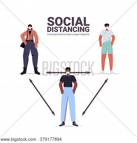 Mix Race People Keeping 2 Distance To Prevent Coronavirus Pandemic Social Distancing Concept Full Le