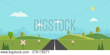 Countryside With Sun And Sky Background Vector Illustration.nature Landscape Summer Background Flat