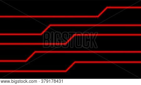 Line Glow Red On Black For Background, Modern Art Line Glowing Red Color For Technology Concept, Neo