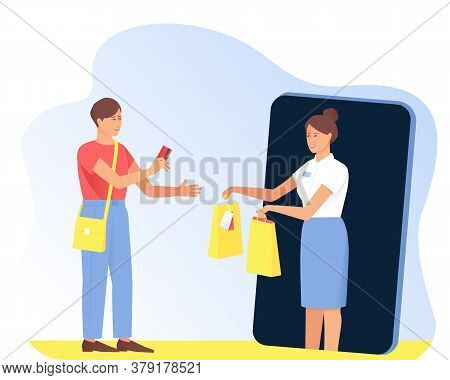 The Seller Gives The Purchases To The Buyer From The Phone. Online Shopping Concept. The Customer Pa