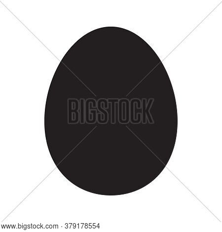 Black Oval, Egg Shape Flat Isolated On White, Oval Shape Icon Black, Oval Geometry Shaped, Illustrat