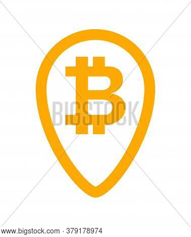 Bitcoin Currency Symbol In Orange Pin Point For Icon, Cryptocurrency Bitcoin Money For App Symbol, S