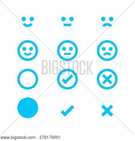 Light Blue Icon Emotions Face, Emotional Symbol And Approval Check Sign Button, Emotion Faces And Ch