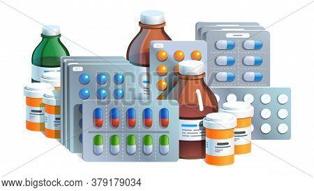 Various Meds. Pills, Glass Bottles With Medicine