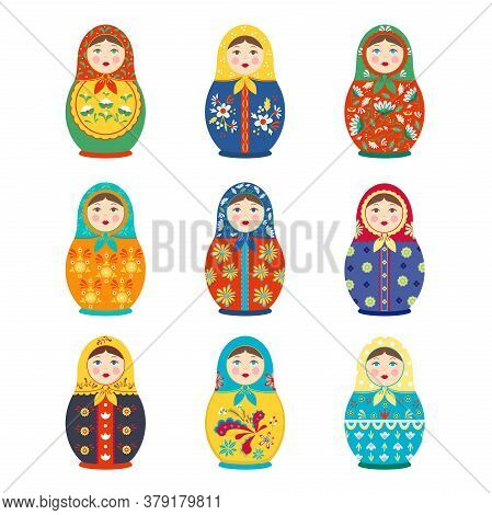 Matryoshka Colored Painted Set. Folk Traditional Handmade Toy Wooden Girl With Colorful Flower Natio