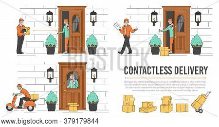 Contactless Delivery Service Banner Set - Quarantine Safety Measures.