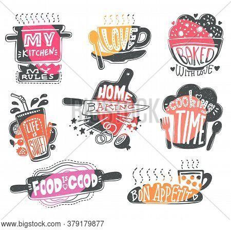 Food Typography Quotes On Kitchen Utensils Cartoon Vector Illustration Isolated.