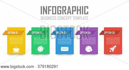 Template Infographic With 5 Steps Or Options. Design Can Be Used For Diagram, Chart, Presentation Or