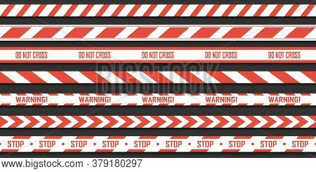 Set Of Red With White Warning Seamless Stripes. Vector Danger Tapes. Ribbons Danger And Caution.